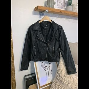 Black moto jacket faux leather.